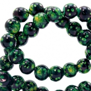 6 mm glass beads stone look Classic Green-Black