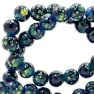 8 mm glass beads stone look Dark Blue-Green
