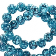 6 mm glass beads stone look Blue