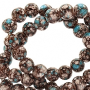 6 mm glass beads stone look Brown-Turquoise White
