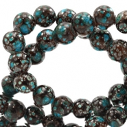 6 mm glass beads stone look Brown-Turquoise