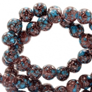 6 mm glass beads stone look Dark Brown-Turquoise
