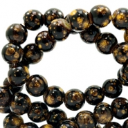 6 mm glass beads stone look Dark Brown-Gold