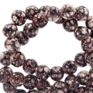 6 mm glass beads stone look Dark Brown-White
