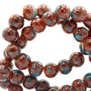 6 mm glass beads stone look Rose Brown-Turquoise
