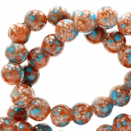 8 mm glass beads stone look Red Brown-Turquoise