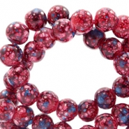 6 mm glass beads stone look Dark Red-Turquoise