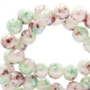 6 mm glass beads marbled Greenish White-Brown