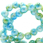 6 mm glass beads marbled Light Blue-Green
