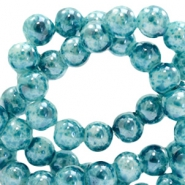 6 mm glass beads marbled Ocean Blue
