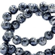 4 mm glass beads marbled Black Anthracite