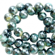 8 mm glass beads marbled Black-Turquoise