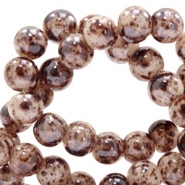 8 mm glass beads marbled Brown-Beige