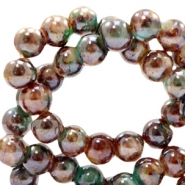 6 mm glass beads marbled Brown-Turquoise