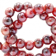 6 mm glass beads marbled Port Red-Blue