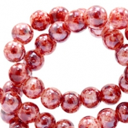 6 mm glass beads marbled Red