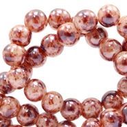 6 mm glass beads marbled Brown-Beige