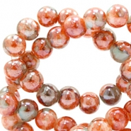 6 mm glass beads marbled Orange Brown-Turquoise