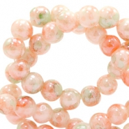 6 mm glass beads marbled Peach Orange-Green