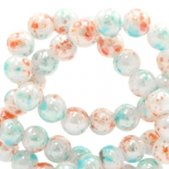 6 mm glass beads marbled Coral-White Blue