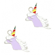 Metal charms unicorn Silver-Lavender Purple