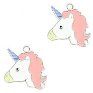 Metal charms unicorn Silver-Light Pink