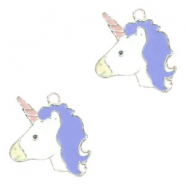 Metal charms unicorn Silver-Purple Blue