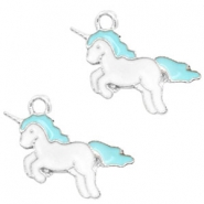 Metal charms unicorn Silver-Turquoise Blue