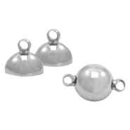 Stainless Steel findings magnetic clasp ball 8mm Antique Silver