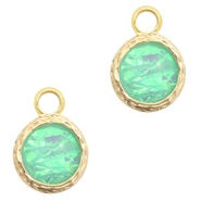 Crystal glass charms 8mm Holographic Green