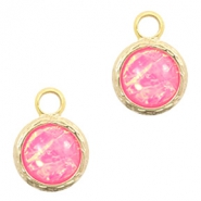Crystal glass charms 8mm Holographic Pink