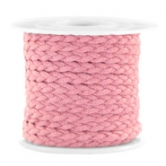 Trendy flat cord braided suede style 5mm Vintage Rose
