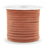 Trendy flat cord suede style 3mm 3mm Cognac Brown