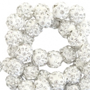 Rhinestone beads 10mm Silver White