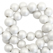6 mm acrylic beads matt Silver-Pearl Coating