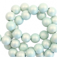 6 mm acrylic beads matt Light Turquoise-Pearl Coating