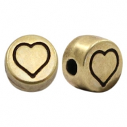 DQ European metal letter beads Heart Antique Bronze (nickel free)