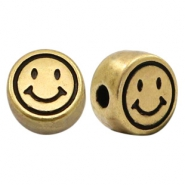 DQ European metal letter beads smile Antique Bronze (nickel free)