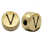 DQ European metal letter beads V Antique Bronze (nickel free)