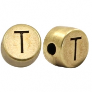 DQ European metal letter beads T Antique Bronze (nickel free)
