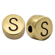 DQ European metal letter beads S Antique Bronze (nickel free)