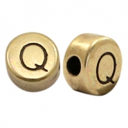DQ European metal letter beads Q Antique Bronze (nickel free)