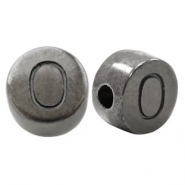 DQ European metal letter beads O Silver Anthracite (nickel free)