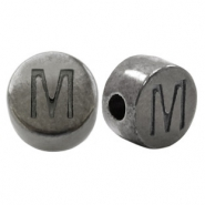 DQ European metal letter beads M Silver Anthracite (nickel free)