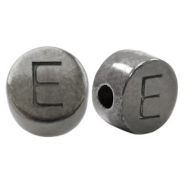 DQ European metal letter beads E Silver Anthracite (nickel free)