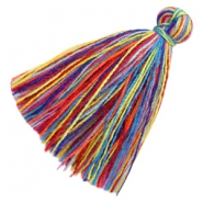 Tassels basic 3cm Multicolour Rainbow Red Blue
