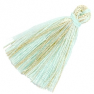 Tassels basic goldline 3cm Light Turquoise Blue