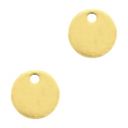 Round DQ metal charms 8mm  Gold (nickel free)