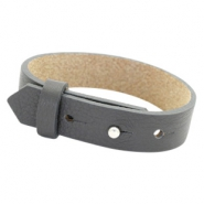 Cuoio bracelets leather 15 mm for 20mm cabochon Lava Grey