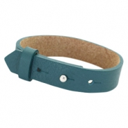 Cuoio bracelets leather 15 mm for 20mm cabochon Night Tide Green